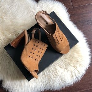 dc9c78555a Tahari Shoes   Hp Block Heel Mules Suede Sandals   Poshmark